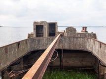 Strandsatt konkret skepp Fotografering för Bildbyråer