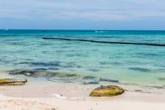 Strandscène bij Playa del Carmen, Mexico Stock Foto's