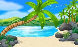 Strandscène met kokospalmen op land stock illustratie