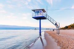 Strandscène op Usedom bij de Oostzeekust stock afbeeldingen
