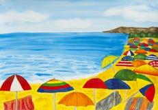 Strandschirme und Meer Stockfoto