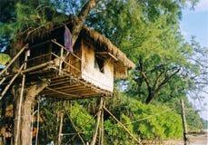 strandsemesterortthailand treehouse Arkivbild