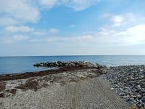 Strandsikt på det baltiska havet royaltyfria bilder