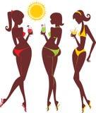 strandsilhouettes stock illustrationer