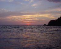 strandsockersolnedgång Royaltyfri Foto