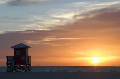 strandsolnedgång Arkivbilder