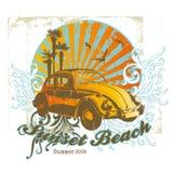 strandsolnedgång royaltyfri illustrationer