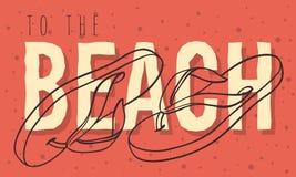 Strandsommardesign med Flip Flops Slippers Beach Shoes den hand drog linjen Art Illustrations stock illustrationer
