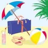 strandsommarsemester royaltyfri illustrationer