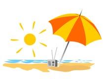 strandsommarsemestrar vektor illustrationer