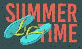 StrandsommarTid design med Flip Flops Slippers Beach Shoes hand drog illustrationer royaltyfri illustrationer