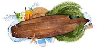 Strandsommercocktailbarkonzepttourismus-Hintergrund leeres woode lizenzfreie abbildung