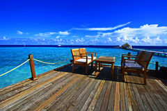 Strandstångterrass Maldiverna Arkivbild
