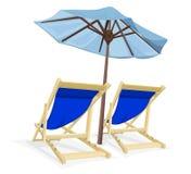 Strandstol med paraplyet Royaltyfri Fotografi