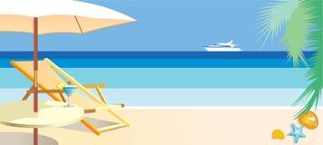 Strandstol och paraply på stranden vektor illustrationer
