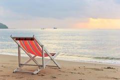 Strandstol på stranden Fotografering för Bildbyråer