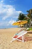 Strandstol på stranden Royaltyfri Bild