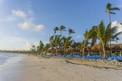 Strandstolar i simbassäng på det tropiska hotellet tillgriper Avslappnande tid i pölen Arkivfoto