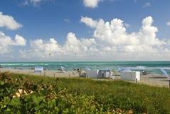 Strandstolar och paraplyer på strand royaltyfria foton