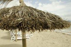 Strandsugrörparaply på Majorcas sandiga strand arkivfoton