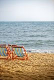 strandsunbedssolnedgång Royaltyfri Foto