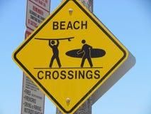 Strandsurfer-Überfahrtzeichen Lizenzfreies Stockfoto
