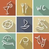 Strandsymbolssamling royaltyfri illustrationer