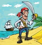strandtecknad film piratkopierar Arkivbild