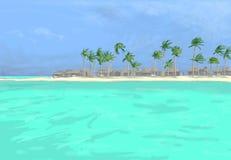 strandteckningen gömma i handflatan vektor illustrationer