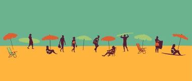 Strandtemaillustration i tappningstil vektor illustrationer