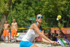 Strandtennisvärld Team Championship 2014 royaltyfria foton