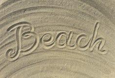Strandtext schreiben auf den Sand Lizenzfreie Stockfotografie