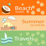 Strandtoerisme, de zomer, zon en het overzees, reizen, vectorbanners Royalty-vrije Stock Fotografie