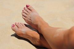 strandtoes Arkivfoton
