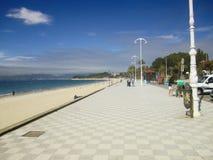Strandtrottoar, Vigo, Spanien Arkivfoton