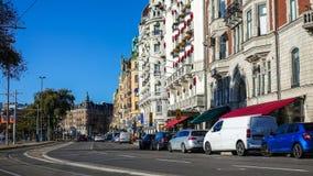 Strandvägen, un boulevard sur Ã-stermalm à Stockholm central, Suède photographie stock libre de droits