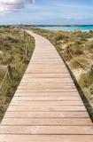 Strandväg till den Illetes stranden i Formentera Royaltyfri Bild