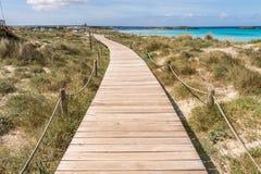 Strandväg till den Illetes stranden i Formentera royaltyfria foton