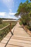 Strandväg till den Saona stranden i Formentera Fotografering för Bildbyråer