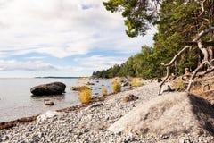 Strandvägen strandvaegen i Nynäshamn Nynaeshamn. Beach by the coastline in Nynaeshamn royalty free stock photo
