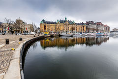Strandvagen Embankment with Many Luxury Yachts Royalty Free Stock Photography