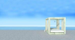 Strandvardagsrum med sundeck på havssikten och blå himmel background-3d royaltyfri fotografi