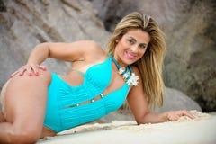 strandvattenkvinna arkivfoton