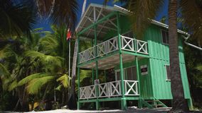Strandvilla of huis op klein tropisch eiland Saona met palmen Dominicaanse Republiek stock videobeelden