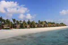 Strandvilla's, de Maldiven Stock Fotografie