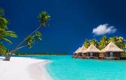 Strandvilla's op een tropisch eiland met palmen en witte beac stock foto