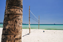 Strandvolleyballnetz auf Boracay - Philippinen Stockfotografie