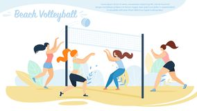 Strandvolleyboll, idrottskvinnalagkonkurrens, royaltyfri illustrationer