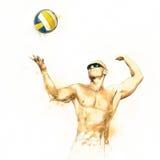 Strandvolleybollspelare i handling 3 stock illustrationer