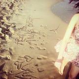 Strandwandeling Stock Foto's
